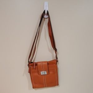 Tignanello Leather Crossbody Purse Orange